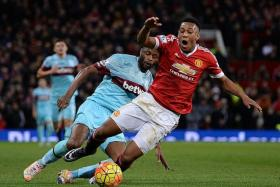 FADING FORCE: Anthony Martial, seen here in action in Saturday's 0-0 draw with West Ham, is losing his initial lustre under Louis van Gaal.