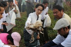 LEADER: Aung San Suu Kyi cleaning up the streets of Myanmar.