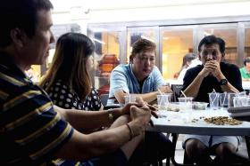 MISSED: Mr Tan Chon Siang's long-time friends (above, from left) Mr Jack Choo, Ms Janet Poh, Mr Ong Thian Lai and Mr Lee Tian Soo attended his wake.