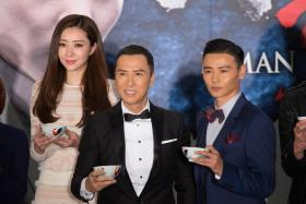 LEADING MAN: (Above, centre) Donnie Yen with co-stars Lynn Hung and Max Zhang; Donnie Yen in a first cast photo released for Rogue One: A Star Wars Story