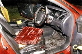CHOPPER ATTACK: Blood splattered around the driver's compartment.