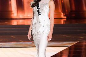 S'PORE GIRL: Miss Lisa Marie White on stage at the Miss Universe competition in Las Vegas.