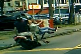VIRAL: A screen grab of a video of the accident at Sims Avenue.