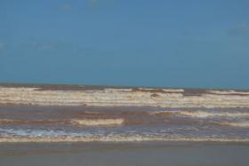The sea off the coast of Kuantan, Pahang turned red after a severe downpour on Sunday that lasted for more than a day.