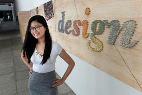 SELF-MADE: Miss Lim Xin Yu taught herself how to use digital art software when she was 12. Now 20, the Temasek Polytechnic graduate plans to continue her design studies in the UK.
