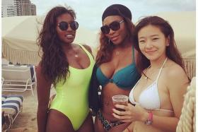 BIKINI BABE: Serena Williams flaunting her shapely body (above, centre). She arrived at Perth Airport (top inset)yesterday for the Hopman Cup.