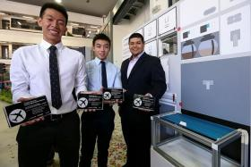 DEVELOPERS: (From left) Mr Elston Cheah Kai Shean, Mr Dexter Tan Jun Yuan and Mr Hisham Bary were three of the six who won the Boeing Patent Award.