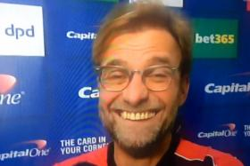 Liverpool boss Juergen Klopp provided an amusing moment when he let out a bizarre laugh during a pre-match interview.