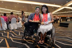 BIG WINNERS: It's a night to remember for swimmers Theresa Goh (left) and Yip Pin Xiu.