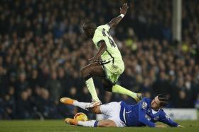 NULLIFIED: Everton's Muhamad Besic dispossessing Man City captain Yaya Toure of the ball.