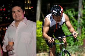 FAT TO FIT: Mr Darren Ho, who weighed 142kg at his heaviest, is gearing up for triathlons.
