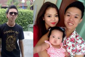 Left: Mr Tan Chow Ken before he turned his life around. Right: With wife Mabelene and daughter Phoebe.