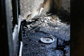 A fire ripped through this bedroom while Mr Venka was sleeping at the next room.