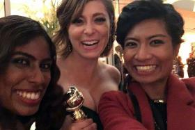 ALL TOGETHER NOW: It was wefies galore as reporters Jennifer Dhanaraj (with wavy hair) and Noor Ashikin snagged snapshots with Rachel Bloom.