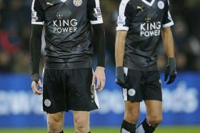NOT SO PREMIER LEAGUE: The EPL's stars this season, Leicester's Jamie Vardy (left) and Riyad Mahrez, stand no chance of making it to the world's best line-up of 2015.