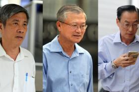 IN COURT: (From left) Han Yew Kwang, Mok Kim Whang and Tan Mong Seng.