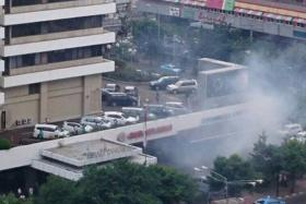 Pictures circulating on Twitter show an apparent bomb blast outside the Sarinah mall in Jakarta.