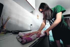 CLEANLINESS: Miss Sabrina Teo cleans her table repeatedly whenever an ant crawls on it.