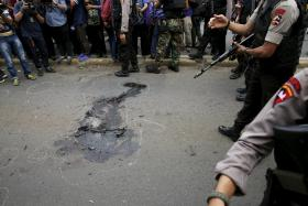 AFTERMATH: Bloodstains at the scene after the attacks.