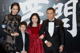 HAPPY FAMILY: Action star Donnie Yen with his wife, Cecilia Wang, and their children, James and Jasmine, at the Hong Kong premiere of Ip Man 3 last December.