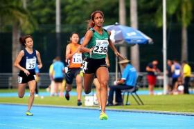 THREE MEDALS: Veronica Shanti Pereira (in green) helped her Republic Polytechnic team to silver in the 4x100m and 4x400m, while winning gold (inset) in the 200m at the Institute-Varsity-Poly Games.
