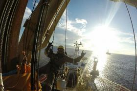 THRILLS: Mr Aris Ahmad on a Cyprus drill ship.