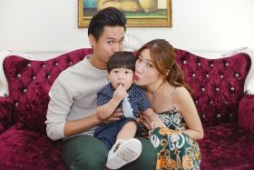 SMILE: Andie Chen, Kate Pang and their son Aden at the launch of their parenting website Kandie Network.