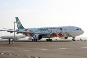 GOOD FLIGHT: Journalists Noor Ashikin Abdul Rahman and Jennifer Dhanaraj got to enjoy the luxurious EVA Air lounge at Taipei Taoyuan International Airport. They were also lucky enough to experience flying in EVA Air's famous Hello Kitty plane.