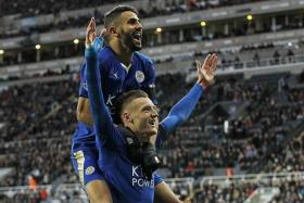 OFF FORM: Jamie Vardy (bottom) has not scored in seven matches while Riyad Mahrez (top) has missed penalties in two of Leicester's last three matches.