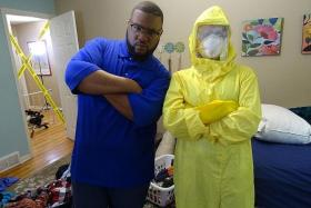 FILTHY: (Above) Grossbusters host Evan Spaulding (left) with his HazMat-suited team helps participants clear up their dirty bedrooms.