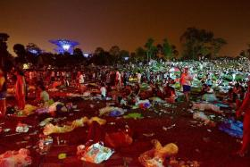 HOPEFUL: After last year's mess at Laneway Festival, Mr Timothy Chua and Miss Sumita Thiagarajan hope to achieve a litter-free environment at this year's edition.