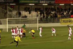 The freekick was block by his own team mate and Ajax cleared the ball to safety.