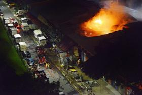 BURNT: The fire at California Laundry at Toa Payoh Industrial Park started after 2am yesterday.