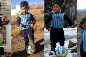 Murtaza Ahmadi, a five-year-old boy from Afghanistan, became an Internet sensation when photos of him in an improvised Lionel Messi shirt made from a plastic bag went viral on social media.