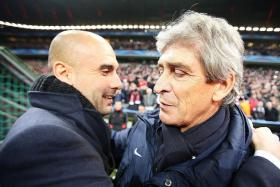 GRIN AND BEAR IT: Landing Pep Guardiola (left) is a coup for City, but outgoing boss Manuel Pellegrini (right) deserves better.