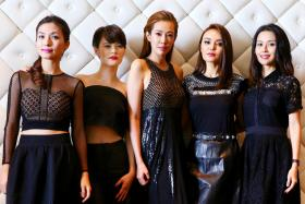 From left to right: Vivian Lai, Jayley Woo, Jesseca Liu, Apple Hong and Priscelia Chan star in Channel 8 drama The Queen