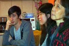 TOGETHER: Miss Cheryl Yap Lay Leng (centre) with her Romanian boyfriend Alexandru Donea and her mother Foo Li Kheng.
