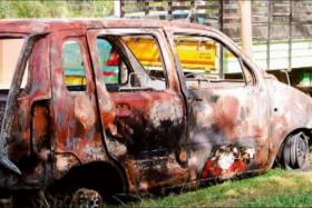 ATTACK: A mob who attacked a Tanzanian woman in Bangalore, India, also set her car on fire.