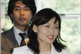 Japan's Liberal Democratic Party  lawmaker Kensuke Miyazaki  and his wife Megumi Kaneko,  a fellow LDP parliamentarian, at the prime minister's official residence in Tokyo.