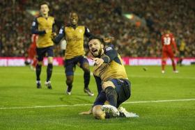 THE GUNNERS HAVE DONE IT BEFORE: Olivier Giroud (above) and his Arsenal teammates will be looking to replicate the manner in which they destroyed Leicester City 5-2 at the King Power Stadium.