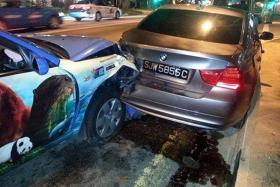 AGONY: A speeding taxi crashed into a car, making it hit the van Madam Jamaliah was in.