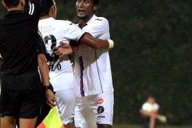 """""""I'm confident that we have replacements for every position. I'm sure that the person coming in and taking my place will do a good job."""" — Warriors centre back Madhu Mohana (above, right), who is suspended after getting sent off against Home United"""