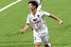 FOUR-MIDABLE: Albirex's Atsushi Kawata (above) makes an early claim for the Golden Boot.
