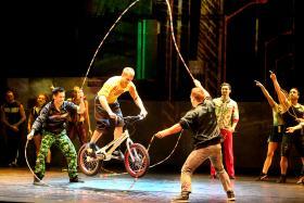 DAREDEVILS: Thibaut Philippe doing bike stunts while on a jump rope. TNP PHOTO: JONATHAN CHOO
