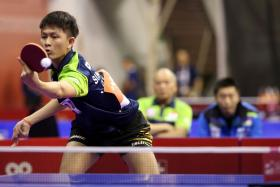 Singapore's Clarence Chew in action at the World Team Table Tennis Championships in Shah Alam.