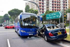 BANNED: Heng Yong Keat failed to give way to a private bus (above).