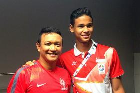 Fandi Ahmad (left) with his son Irfan.