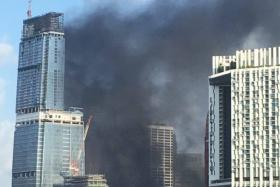 A fire broke out at a construction site near Tanjong Pagar MRT.