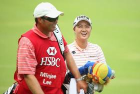 AHEAD AT SERAPONG: Lee Minjee (right) and Candie Kung are joint-top of the leaderboard.