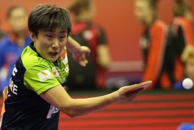 OVERLOADED: Feng Tianwei (above), who had played 10 matches in four days, and Yu Mengyu were rested yesterday, ahead of their clash with North Korea today.